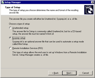 Running Sysprep on Windows XP and Windows Server 2003